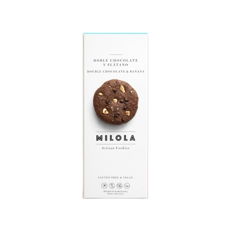 Cookie de doble chocolate, avellana y plátano sin gluten - 140 gr