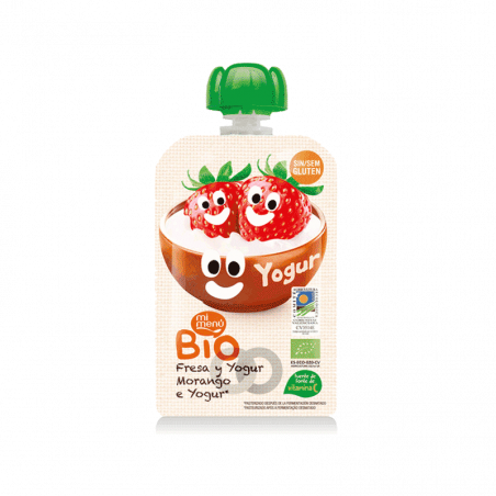 Bebible de fresa y yogur bio sin gluten  - 100 ml