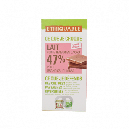 Chocolate leche cacao 47% bio - 100 gr