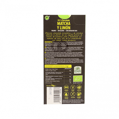 Chocolate blanco matcha limon, bio vegan - 70G
