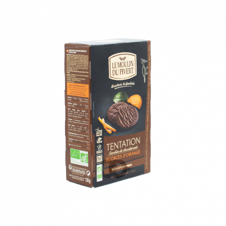 Biscuits bio 'tentation' au chocolat noir et écorces d'orange - 130 gr